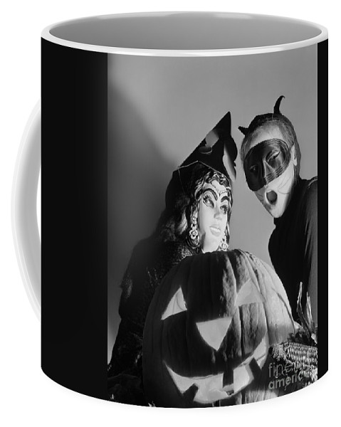 1950s Coffee Mug featuring the photograph Kids In Halloween Costumes by D. Corson/ClassicStock