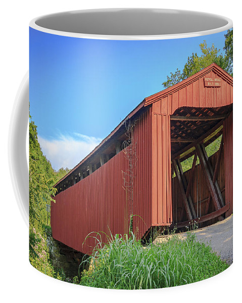 America Coffee Mug featuring the photograph Kidwell Covered Bridge by Jack R Perry