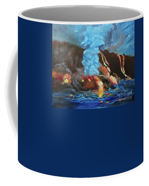 Abstract Coffee Mug featuring the painting Kilauea Volcano Jenny Lee Discount by Jenny Lee