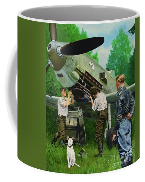 Messerschmitt Coffee Mug featuring the painting Killing Beauty by Oleg Konin