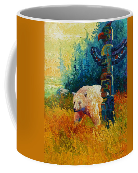 Western Coffee Mug featuring the painting Kindred Spirits - Kermode Spirit Bear by Marion Rose