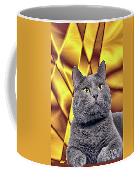Cat Coffee Mug featuring the digital art King Kitty With Golden Eyes by Janette Boyd