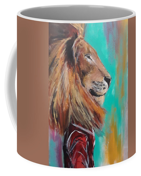 King Coffee Mug featuring the painting King by Marcus Arceneaux