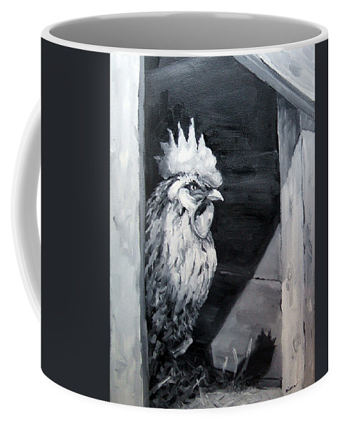 Animal Coffee Mug featuring the painting King of the Roost by Diane Kraudelt