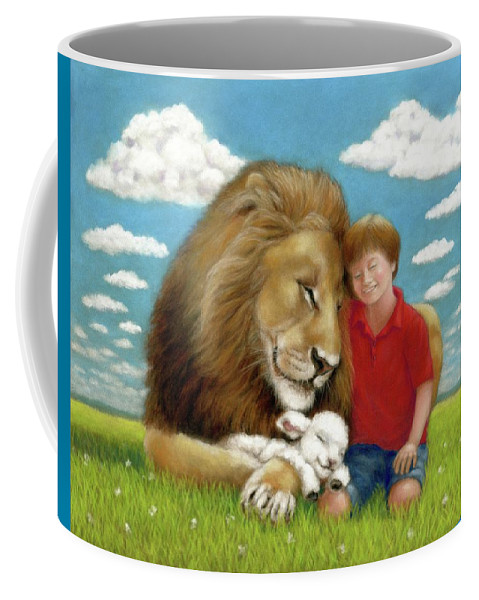 Child Coffee Mug featuring the pastel Kingdom Friends by Gale Smith
