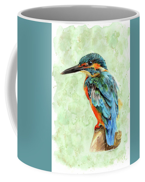 Pencil Drawing Coffee Mug featuring the drawing Kingfisher Blue by Bonnita Moaby