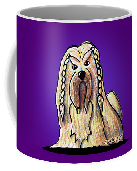 Kiniart Coffee Mug featuring the drawing Kiniart Lhasa Apso Braided by Kim Niles