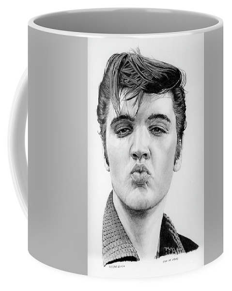 Elvis Coffee Mug featuring the drawing Kiss Me Quick by Rob De Vries