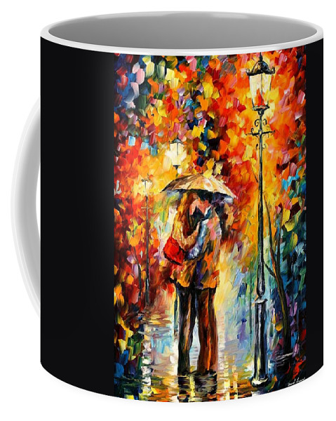 Afremov Coffee Mug featuring the painting Kiss Under The Rain by Leonid Afremov