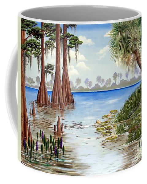 Nature Coffee Mug featuring the painting Kissimee River Shore by Monica Turner