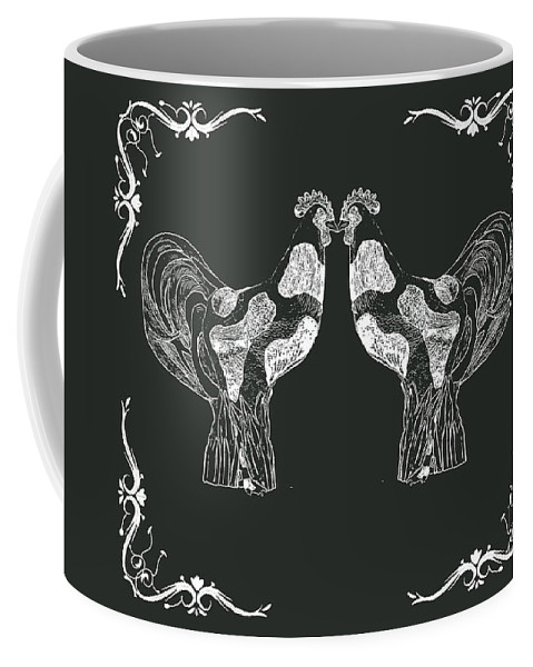 Roosters Coffee Mug featuring the photograph Kissing Roosters 1 by Emily Kay