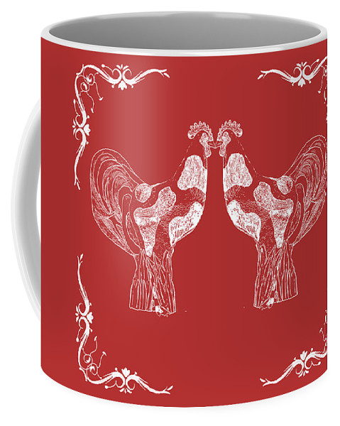Roosters Coffee Mug featuring the photograph Kissing Roosters 4 by Emily Kay
