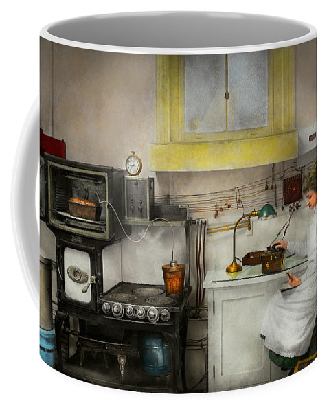 Kitchen Coffee Mug featuring the photograph Kitchen - How I Bake Bread 1923 by Mike Savad