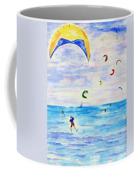 Kite Coffee Mug featuring the painting Kite Surfer by Jamie Frier