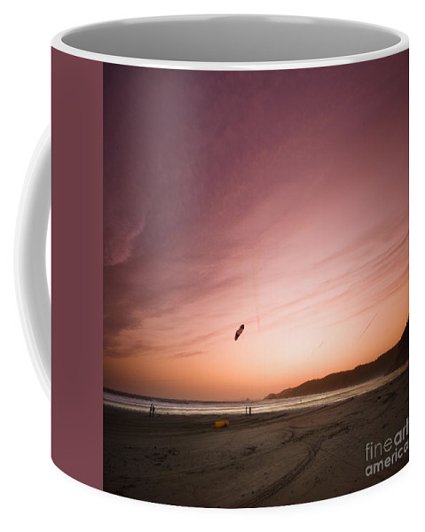 Kite Coffee Mug featuring the photograph Kiting In The Sunset by Angel Tarantella