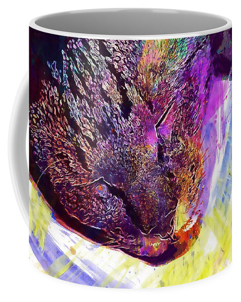 Kitten Coffee Mug featuring the digital art Kitten Cat Sleep Peaceful Mood by PixBreak Art