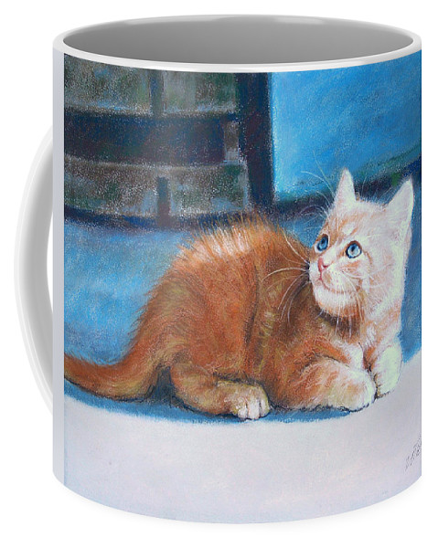 Cats Coffee Mug featuring the pastel Kitten by Iliyan Bozhanov