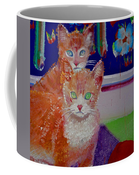Kittens Coffee Mug featuring the painting Kittens With Wild Wallpaper by Charles Stuart