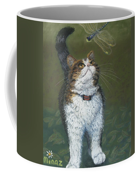 Cat Coffee Mug featuring the painting Kitty And Her Dragonfly by Minaz Jantz