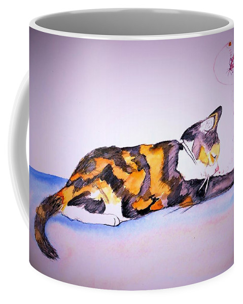 Cat Coffee Mug featuring the drawing Kitty Cat by Denise Fulmer