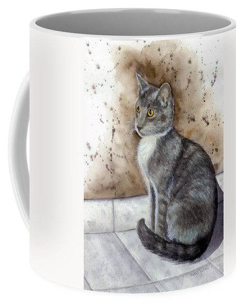 Cat Coffee Mug featuring the painting Kitty by Mary Tuomi