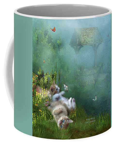 Kittens Coffee Mug featuring the mixed media Kitty Wishes by Carol Cavalaris