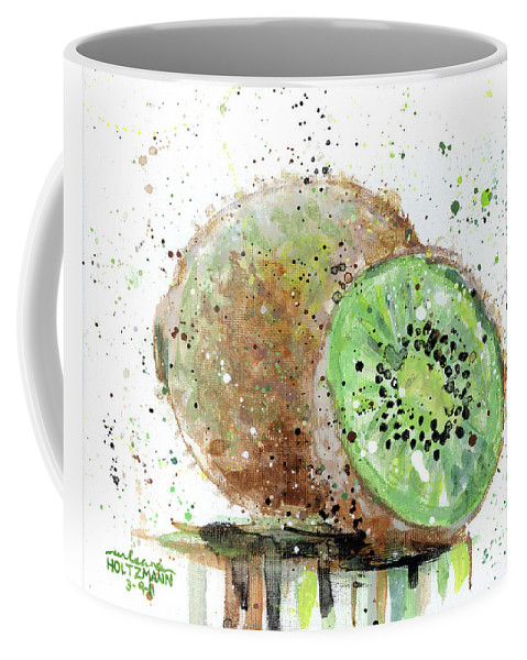 Kiwi Coffee Mug featuring the painting Kiwi 2 by Arleana Holtzmann
