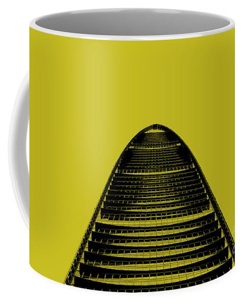Shenzhen Coffee Mug featuring the photograph Kk100 Shenzhen Skyscraper Art Yellow by Marco Toscani