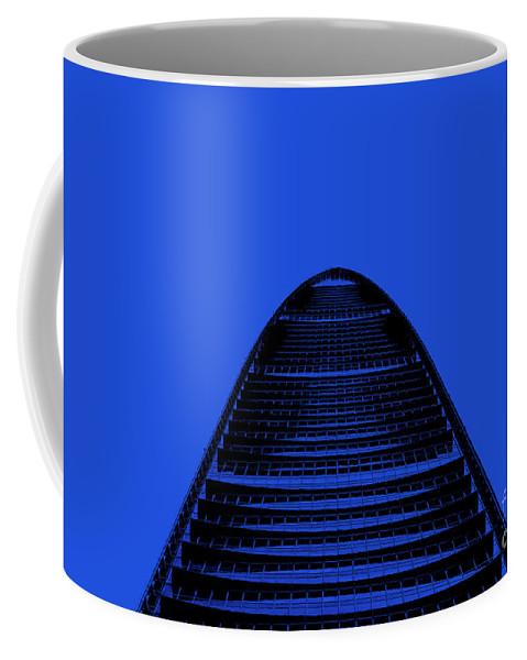 Shenzhen Coffee Mug featuring the photograph Kk100 Shenzhen Skyscraper Art Blue by Marco Toscani
