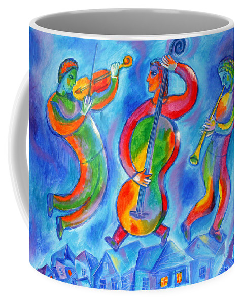 Coffee Mug featuring the painting Klezmer On The Roof by Leon Zernitsky