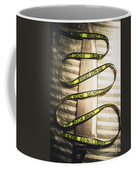 Forensic Coffee Mug featuring the photograph Knife With Crime Scene Ribbon On Metal Surface by Jorgo Photography - Wall Art Gallery