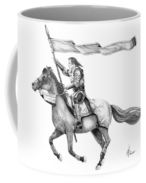 Pencil Coffee Mug featuring the drawing Knight In Armor by Murphy Elliott