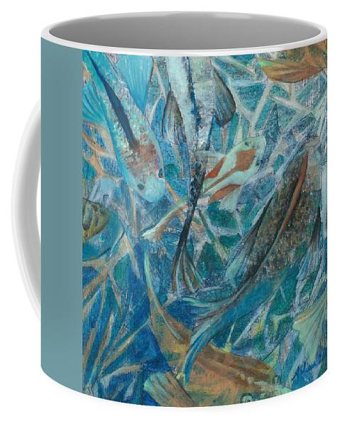 Koi Coffee Mug featuring the painting Koi by Arlissa Vaughn
