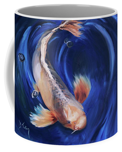 Koi Coffee Mug featuring the painting Koi by Donna Tuten