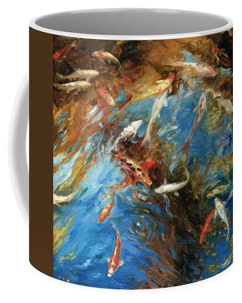 Marine Coffee Mug featuring the painting Koi I by Rick Nederlof