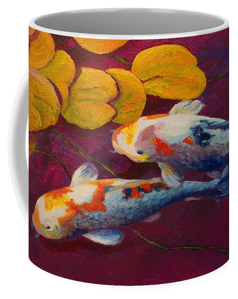 Water Lily Coffee Mug featuring the painting Koi Pond II by Marion Rose