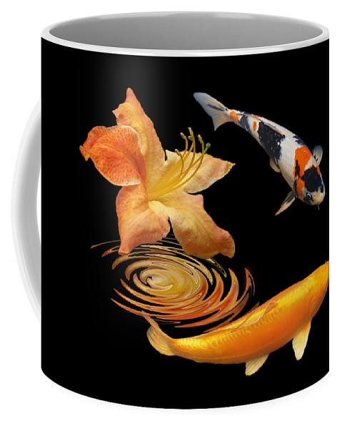 Japanes Koi Fish Coffee Mug featuring the photograph Koi With Azalea Ripples by Gill Billington