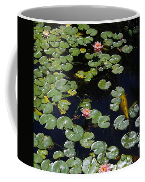 Koi Coffee Mug featuring the photograph Koi With Lily Pads E by Phyllis Spoor