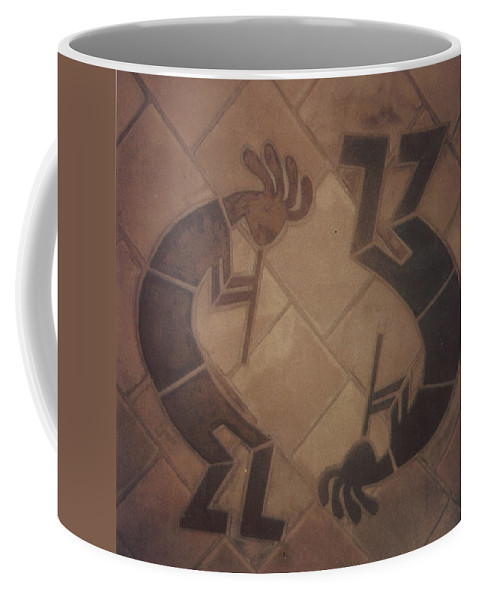 Tile Coffee Mug featuring the relief kokopelli Hand cut Tiles by Patrick Trotter