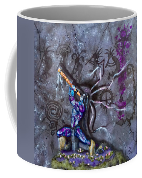 Kokopell Coffee Mug featuring the painting Kokopelli Cave Painting by Mike Smith