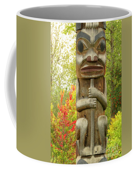 Totem Coffee Mug featuring the photograph Ksan Hues by Frank Townsley