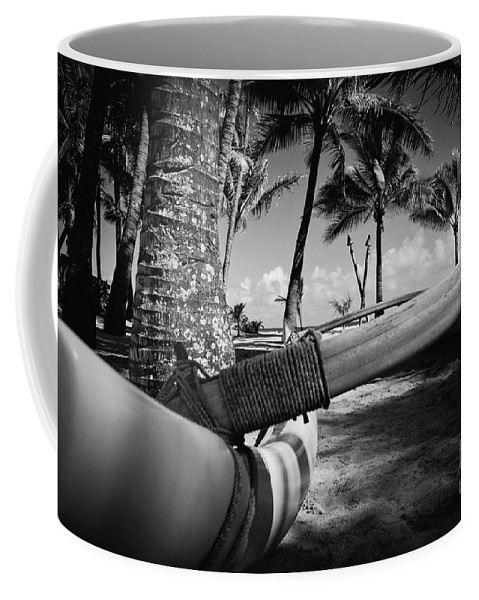 Aloha Coffee Mug featuring the photograph Kuau Palm Trees Hawaiian Outrigger Canoe Paia Maui Hawaii by Sharon Mau
