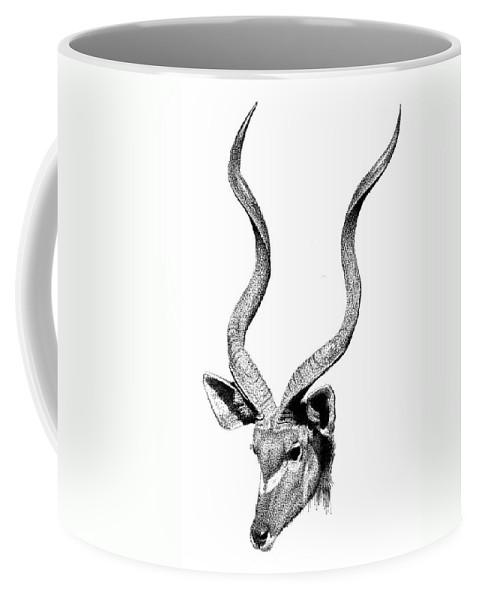 Kudu Coffee Mug featuring the drawing Kudu by Scott Woyak