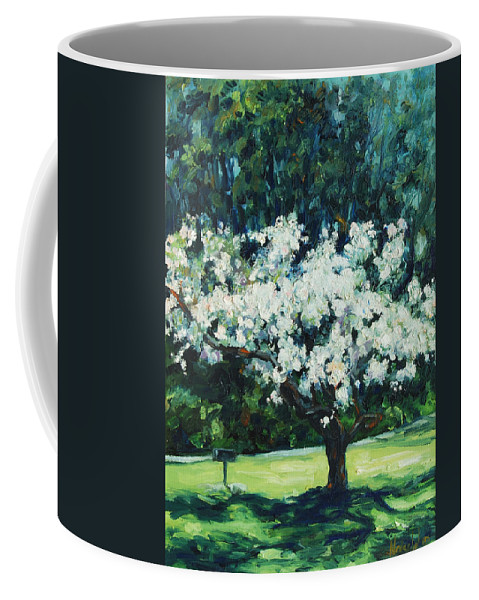 San Francisco Coffee Mug featuring the painting Kwanzan I by Rick Nederlof