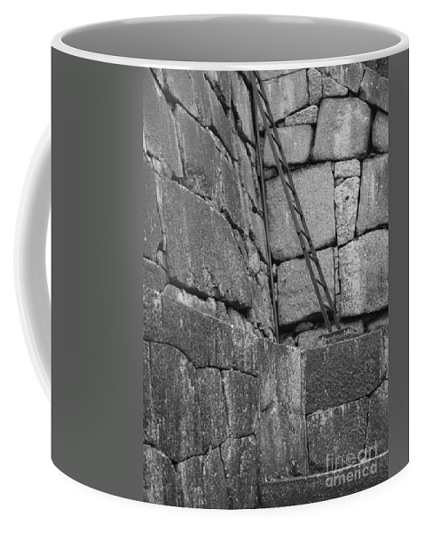 Black And White Coffee Mug featuring the photograph Kyoto Palace Stone Wall by Carol Groenen