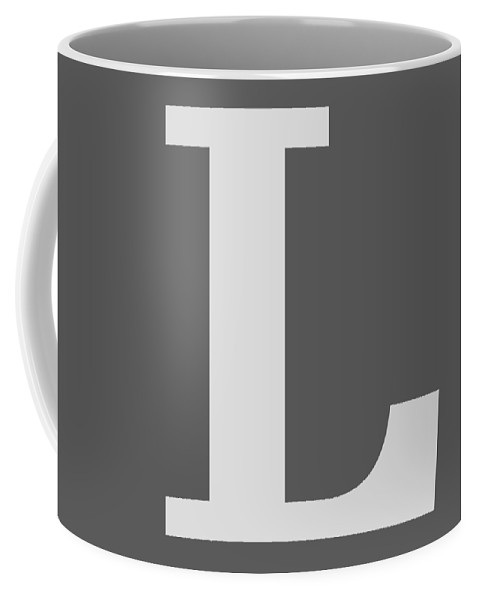 L Coffee Mug featuring the digital art L In Light Gray Typewriter Style by Custom Home Fashions