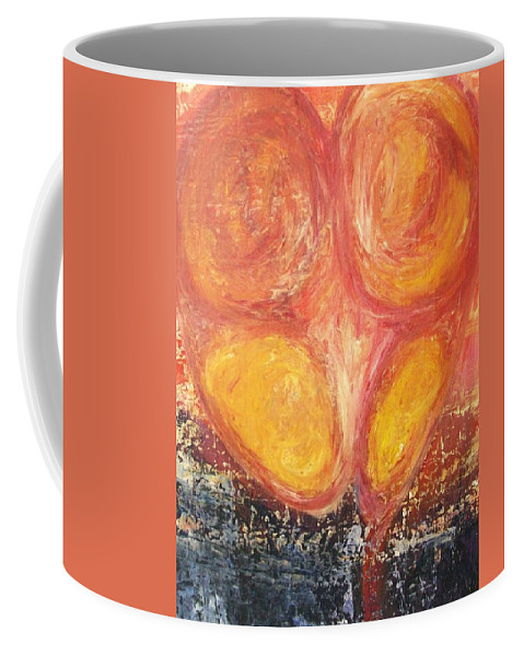 Red Coffee Mug featuring the painting L O V E H A T E by Laurette Escobar