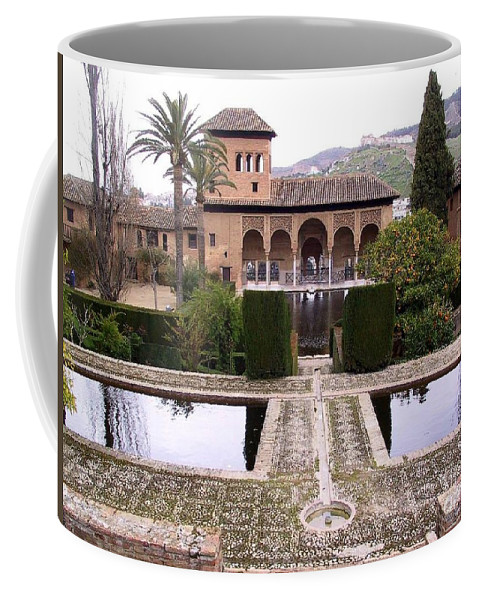Alhambra Coffee Mug featuring the photograph La Alhambra Garden by Thomas Marchessault