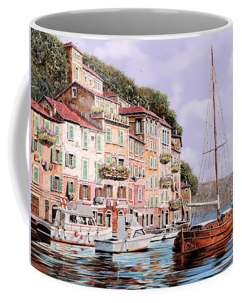 Landscape Coffee Mug featuring the painting La Barca Rossa Alla Calata by Guido Borelli