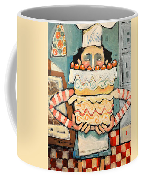 Cake Coffee Mug featuring the painting La Boulanger Francaise by Tim Nyberg